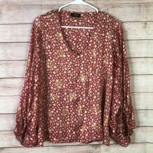 Vici Beautiful Floral Red White Shimmer Size Small